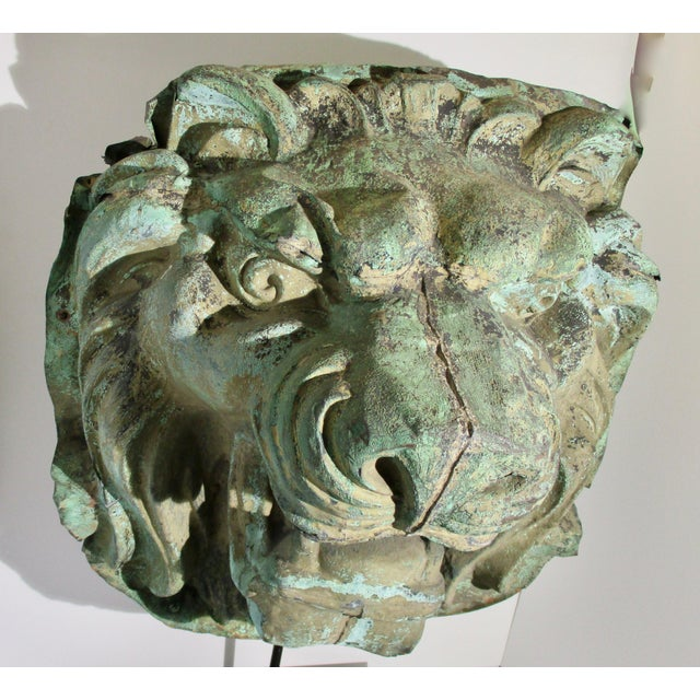 Gothic Early 20th Century Vintage Copper Repouss'e Lion Statue For Sale - Image 3 of 10