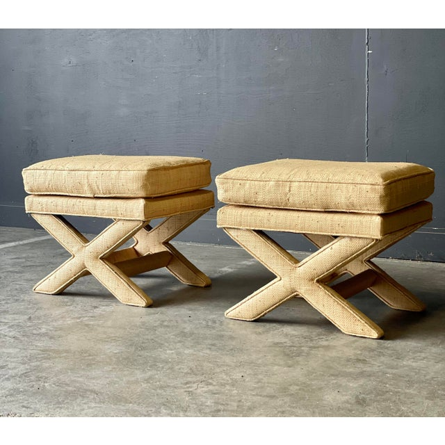 Mid-Century Modern Custom Vintage Grass Cloth X Stools a Pair For Sale - Image 3 of 8
