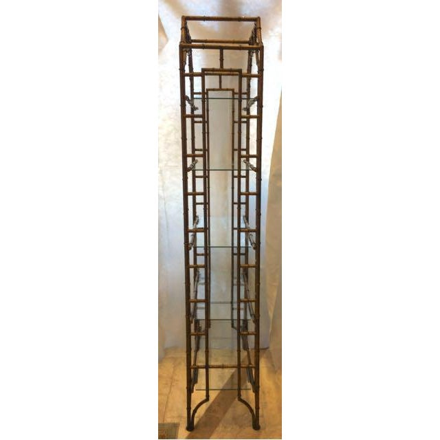 Asian Mid-Century Modern Brass Faux Bamboo Etagere For Sale - Image 3 of 10