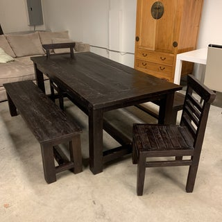 Handcrafted Teak Table + Two Benches + Two Chairs Preview