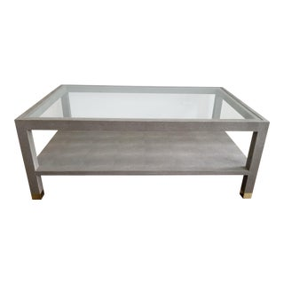 Contemporary Made Goods Lafeu Faux Shagreen Coffee Table For Sale