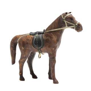 Antique Leather Horse Sculpture Toy For Sale