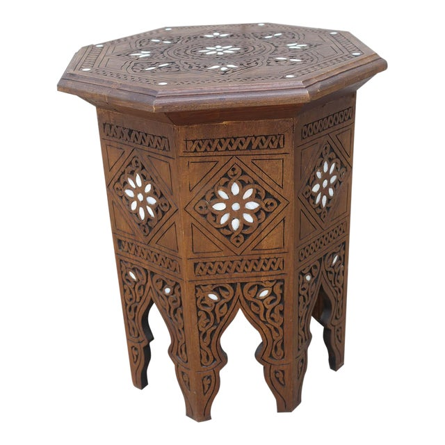 Moroccan Middle Eastern Style Inlaid Side Table For Sale