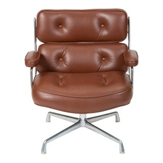 Ray + Charles Eames Time Life Lobby Chair in Chocolate Leather For Sale