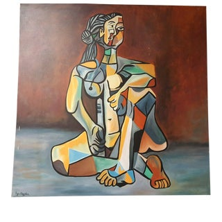 Surrealist Oil Painting on Canvas of Cubist Style Seated Woman by Ray Martinez For Sale