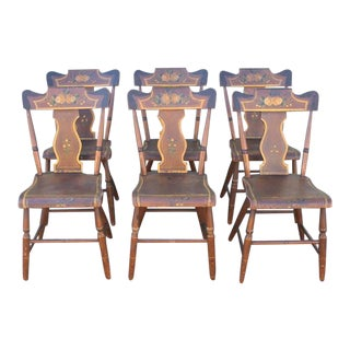 Set of Six Original Painted 19th Century Pennsylvania Plank-Bottom Chairs For Sale