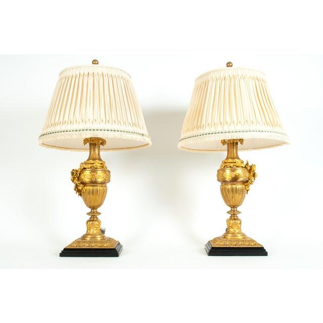 Louis XVI Style Doré Bronze Table Lamps - a Pair For Sale - Image 11 of 13