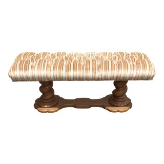 Vintage Mid-Century Tufted Stripped Bench