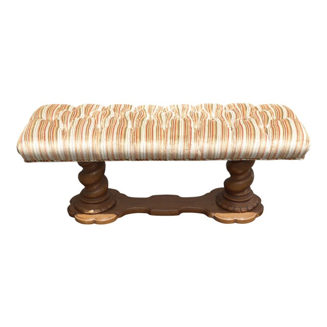 Vintage Mid-Century Tufted Stripped Bench - Image 1 of 10