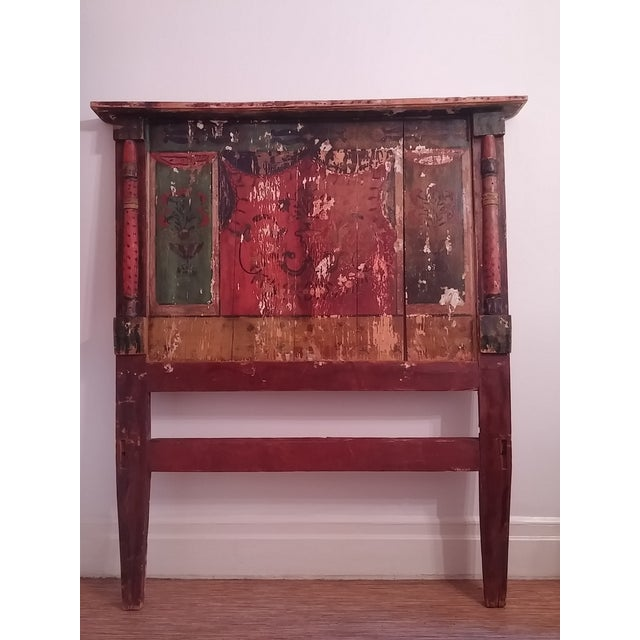 Antique Primitive Painted Red Headboard - Image 2 of 10