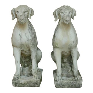 Early 20th C. Cast Stone Garden Hounds - a Pair