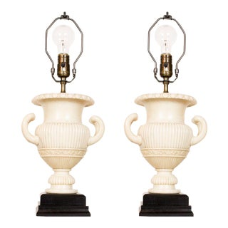 Pair of Alabaster Urn Lamps For Sale