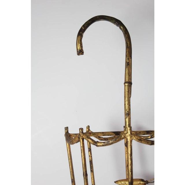 Mid Century Vintage Italian Gilt Tole Umbrella Stand For Sale - Image 4 of 6
