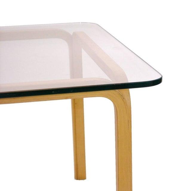 Artek Alvar Aalto Artek Glass & Bentwood Birch Coffee or Cocktail Tables - a Pair For Sale - Image 4 of 9