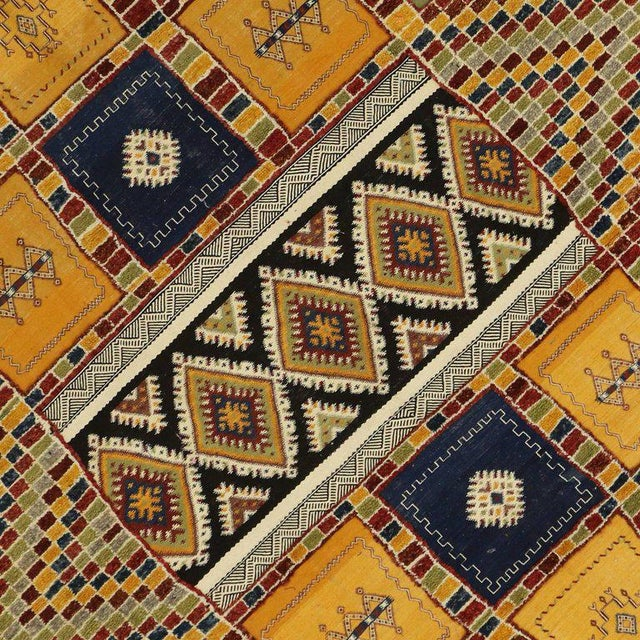 Berber Tribes of Morocco Berber Moroccan Kilim Rug with High-Low Pile, Flat-Weave Rug with Tribal Style For Sale - Image 4 of 8