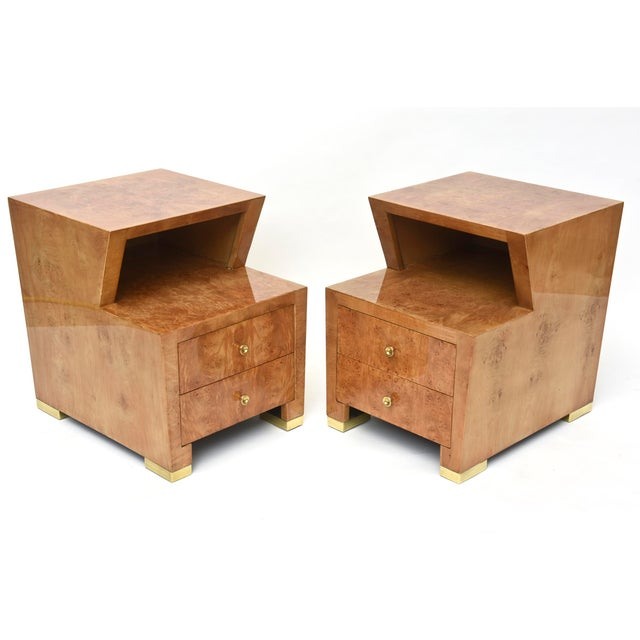 Maple Pair of Sir Edmund Spence Burled Maple Two-Drawer Night or End Tables For Sale - Image 7 of 10