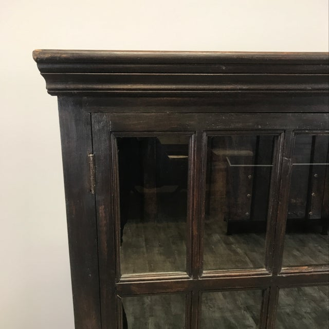 Wood Crate & Barrel Wood Glass Door Wall Unit For Sale - Image 7 of 9