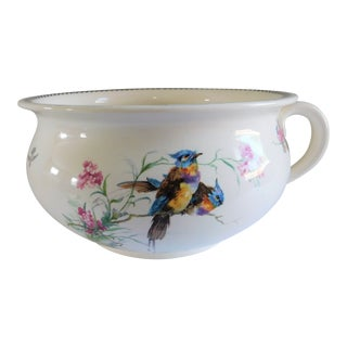 Antique Ceramic Chamber Pot/Planter With Birds and Flowers For Sale