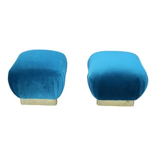 Hollywood Regency Velvet Pair of Pouffs