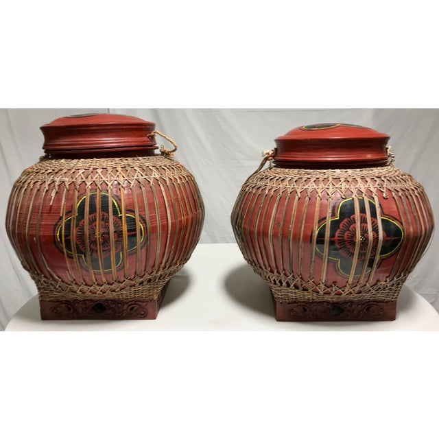 Early 20th Century Vintage Asian Paper Mâché Coated Rattan Storage Containers- A Pair For Sale - Image 4 of 11