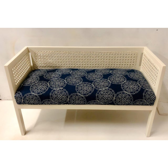 Boho Chic 1970s Caned Bench in Linen For Sale - Image 3 of 8