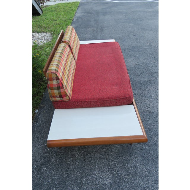 Mid Century Modern Adrian Pearsall Sofa XL Travertine Marble End Tables For Sale - Image 11 of 13