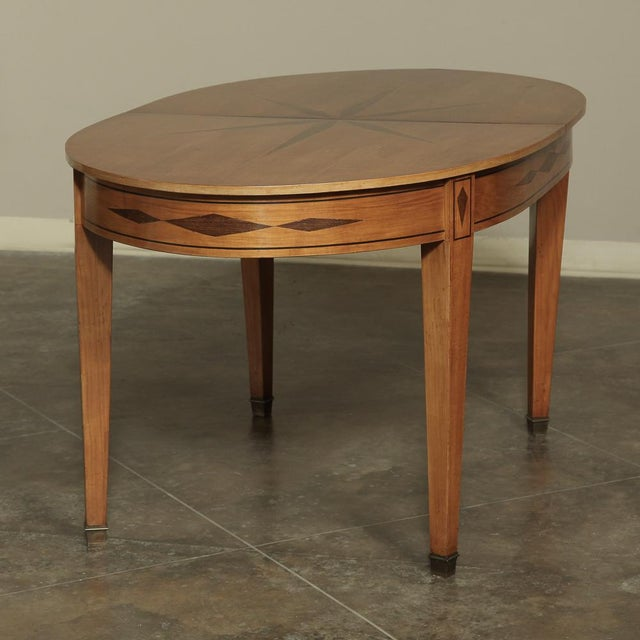 Brown Mid-Century French Directoire Style Inlaid Table For Sale - Image 8 of 13