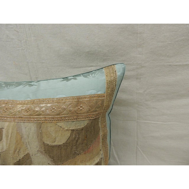 Antique Aubusson Tapestry Square Decorative Pillow For Sale - Image 4 of 8