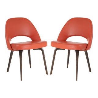 Saarinen Executive Armless Chairs in Burnt Orange Leather and Walnut Legs, Pair For Sale