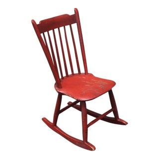 19th Century Original Salmon Painted Windsor Rocking Chair For Sale