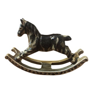 Glazed Ceramic Zebra Rocking Horse Figure For Sale