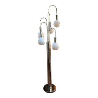 Mid-Century Sonneman Style Chrome Waterfall Floor Lamp For Sale