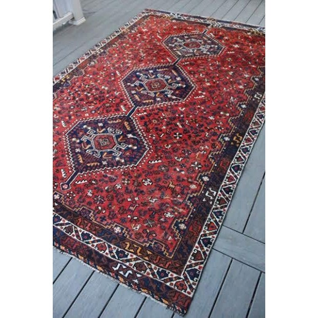 "Vintage Persian Shiraz Rug - 6' X 9'2"" - Image 3 of 9"
