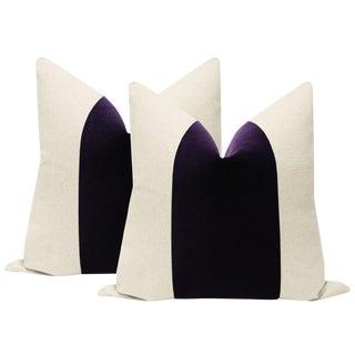 """22"""" Aubergine Velvet Panel & Linen Pillows - a Pair For Sale"""
