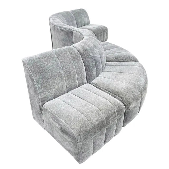 1960s Mid-Century Modern Serpentine Milo Baughman Modular Sectional Sofa in Gray For Sale In Philadelphia - Image 6 of 8