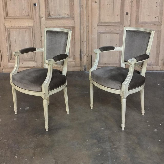 Early 19th Century 19th Century French Louis XVI Painted Armchairs - a Pair For Sale - Image 5 of 13