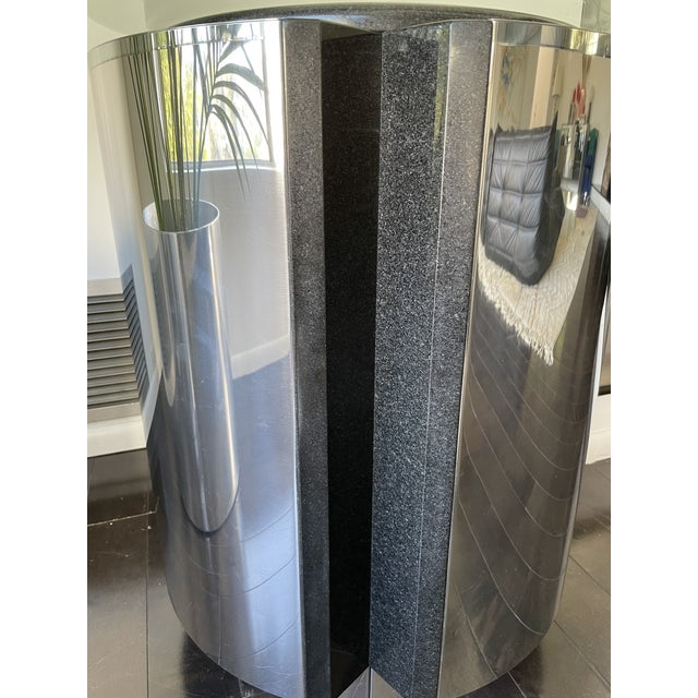 Metal 1980s Pace Collection Chrome and Granite Dining Table With Glass Top For Sale - Image 7 of 8
