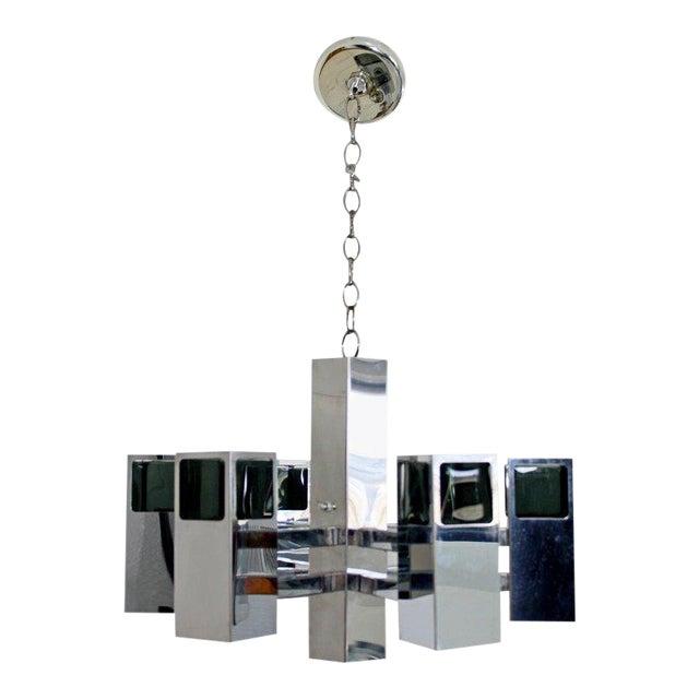 Mid-Century Modern Robert Sonneman 7 Bulb Chrome Light Fixture Chandelier For Sale