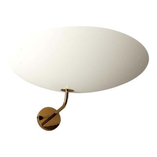 Pierre Disderot Model #2059 Perforated Wall Lamp in White & Polished Brass For Sale