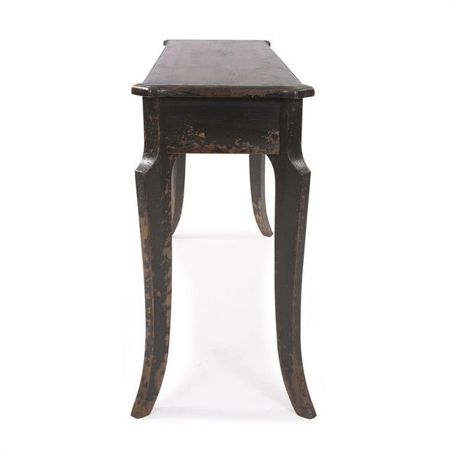 English Kenneth Ludwig Chicago Distressed Black Farm House Console Table For Sale - Image 3 of 8