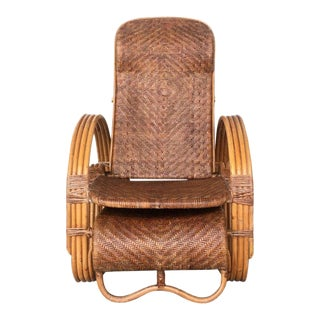 20th Century Adjustable Bentwood and Rattan Chaise Longue With Ottoman Inserted For Sale