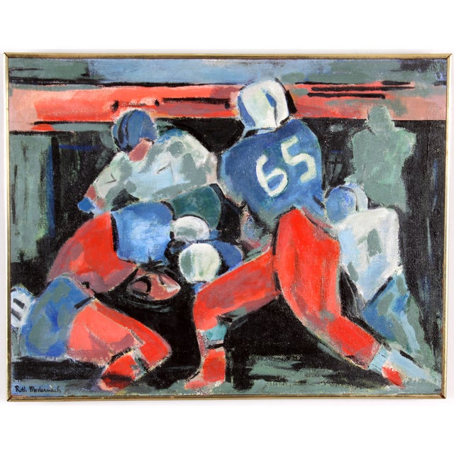 """The Tackle"" by Ruth Medernach Football Painting - Image 1 of 5"