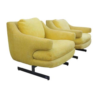 1970's Vintage Milo Baughman Style Yellow Crome Base Chair- a Pair