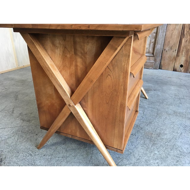 1950's Maple X-Leg Desk With Bookcase For Sale In Los Angeles - Image 6 of 13