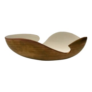 Global Views Modern Golden Striped Bowl For Sale