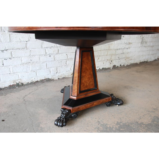 Mid 20th Century Baker Furniture Stately Homes Collection Burl Ash Regency Center Table For Sale - Image 5 of 12