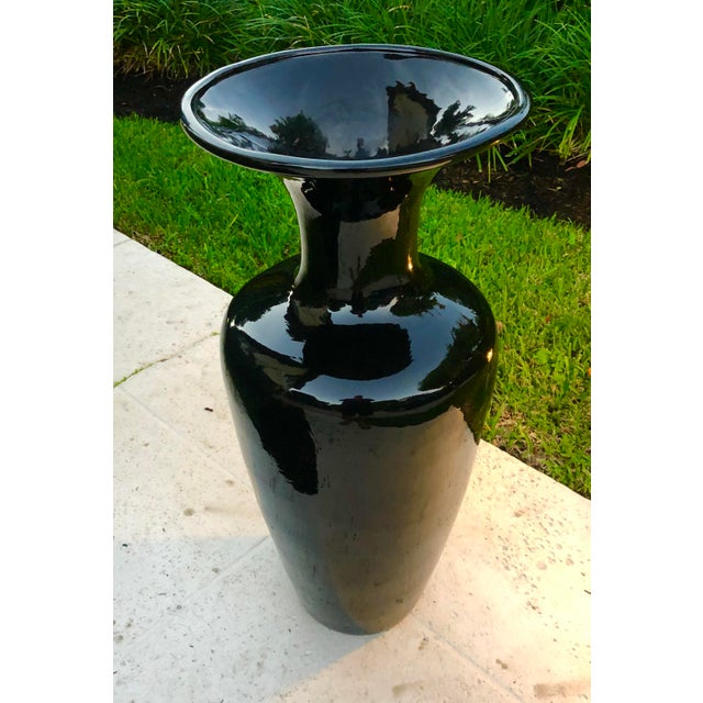 Large 80s black ceramic vase. In mint condition, this base has a hole in the base so can be used indoors or out.