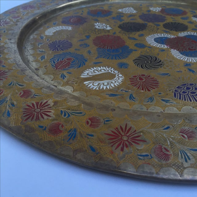 Metal Vintage Indian Gold Plate For Sale - Image 7 of 10