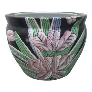 Vintage Chinese Porcelain Iris Fish Bowl Planter For Sale