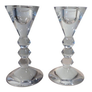 Baccarat Vega French Crystal Candle Holders - a Pair For Sale